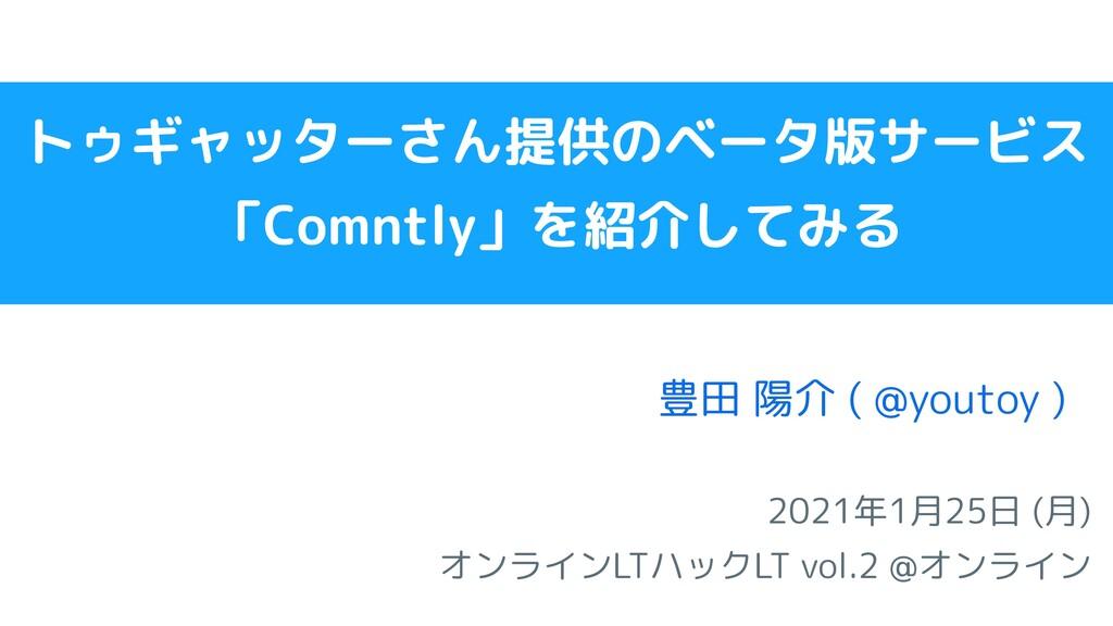 2021年1月25日 (月) オンラインLTハックLT vol.2 @オンライン   豊田 陽...
