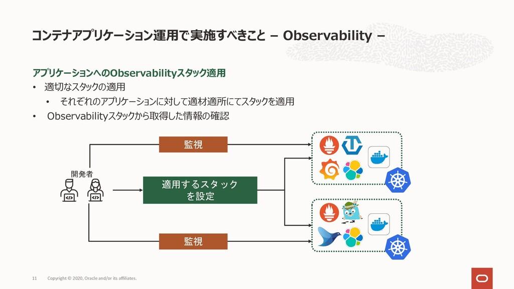 アプリケーションへのObservabilityスタック適⽤ • 適切なスタックの適⽤ • それ...