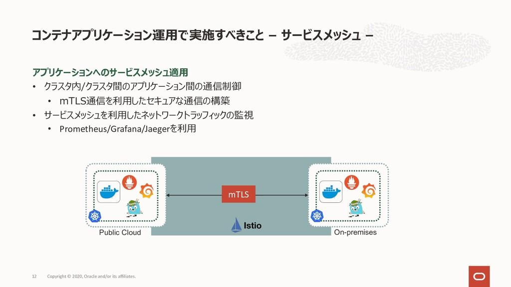アプリケーションへのサービスメッシュ適⽤ • クラスタ内/クラスタ間のアプリケーション間の通信...