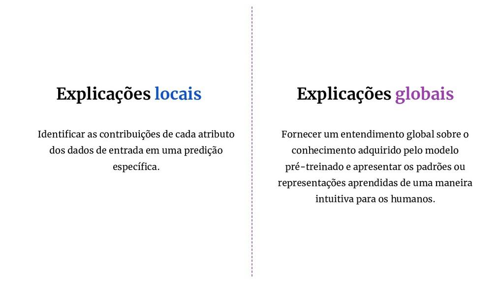 Explicações locais Explicações globais Fornecer...