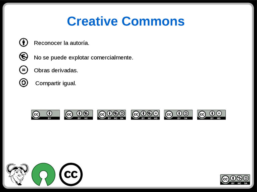 Creative Commons Reconocer la autoría. Comparti...