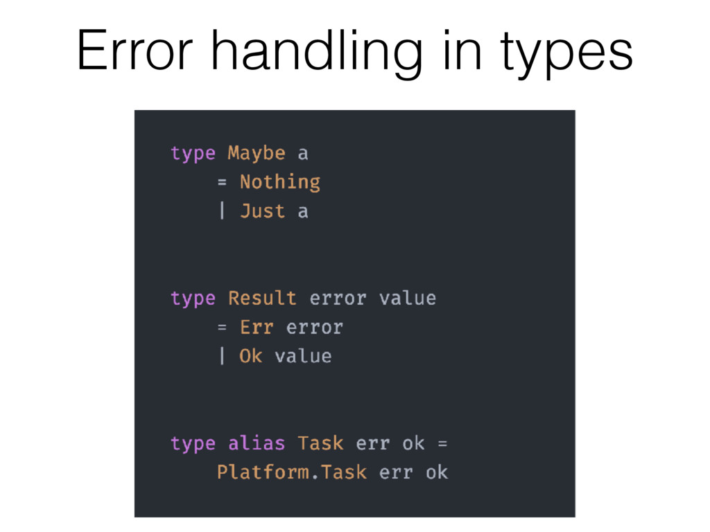 Error handling in types