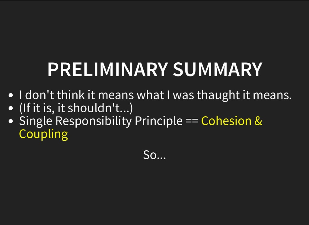 PRELIMINARY SUMMARY PRELIMINARY SUMMARY I don't...