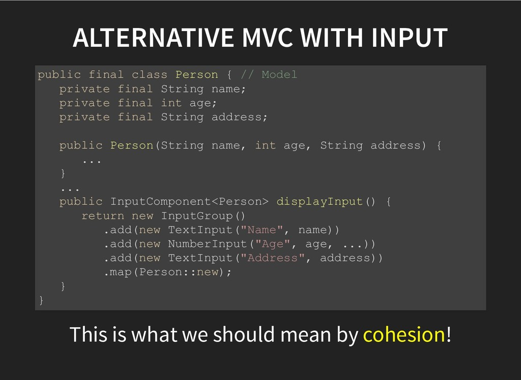 ALTERNATIVE MVC WITH INPUT ALTERNATIVE MVC WITH...