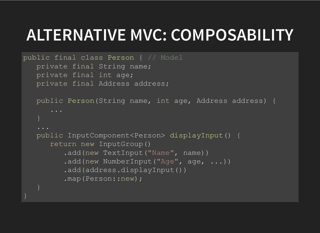 ALTERNATIVE MVC: COMPOSABILITY ALTERNATIVE MVC:...