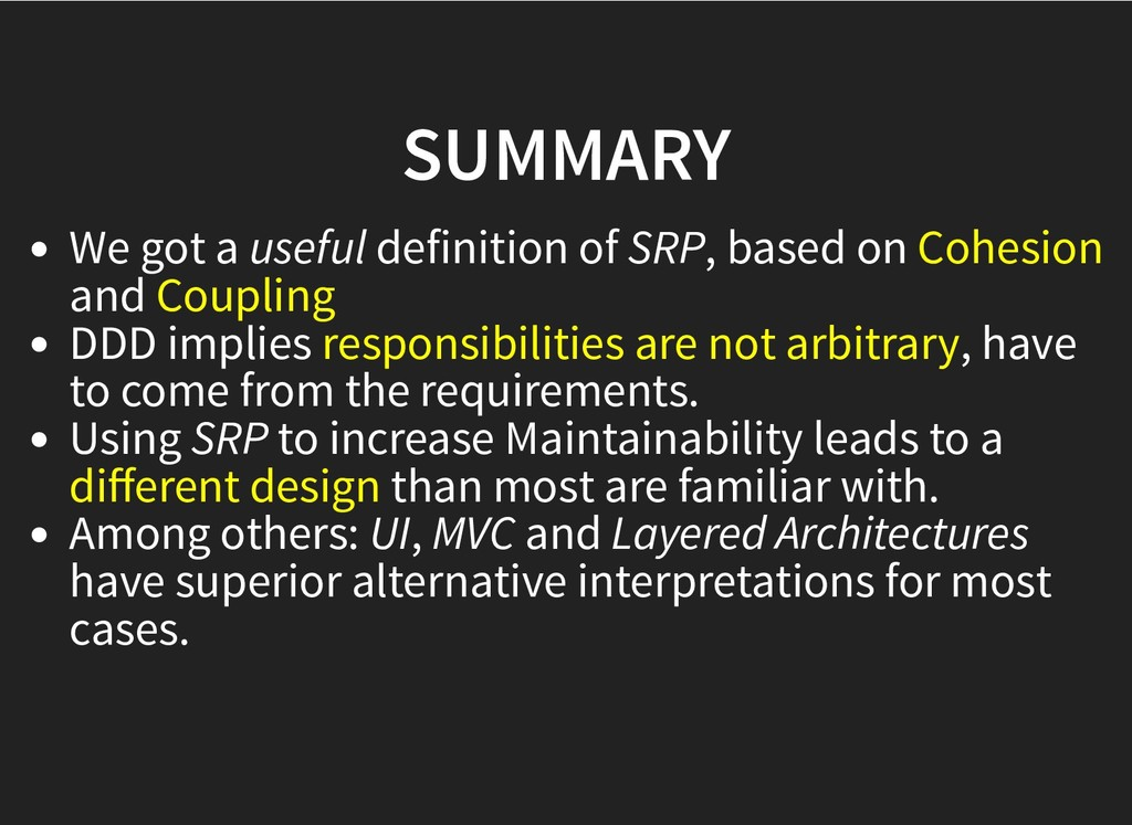 SUMMARY SUMMARY We got a useful definition of S...