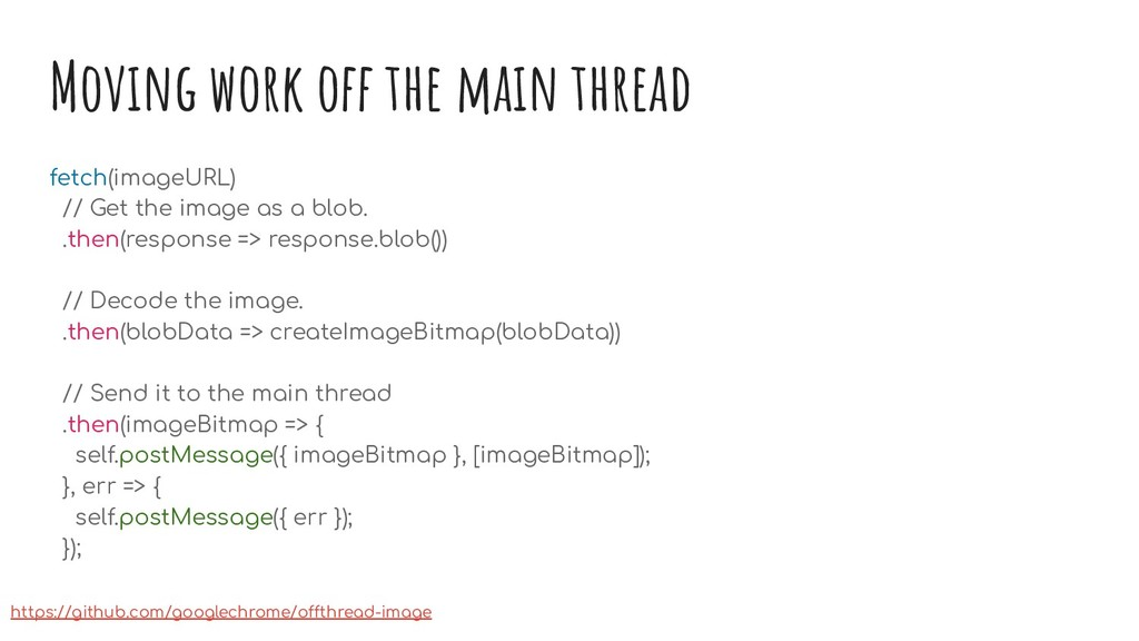 Moving work off the main thread fetch(imageURL)...