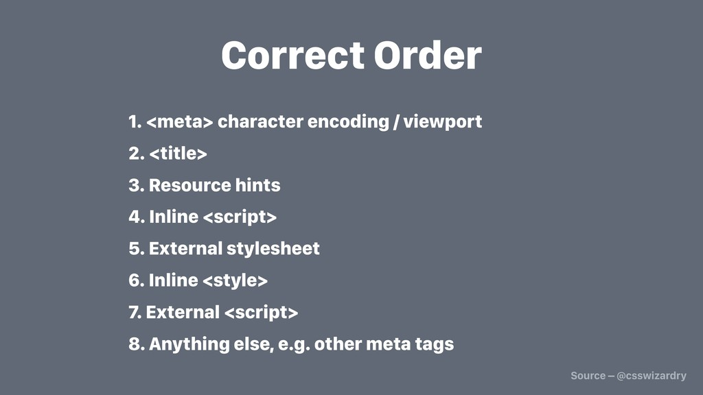 Correct Order 1. <meta> character encoding / vi...