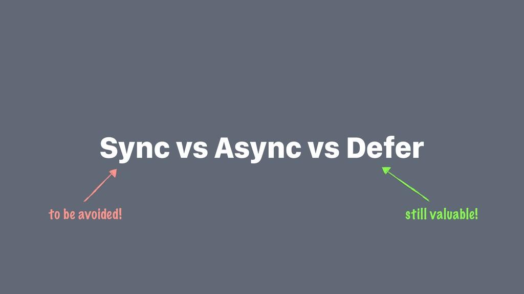 Sync vs Async vs Defer still valuable! to be av...