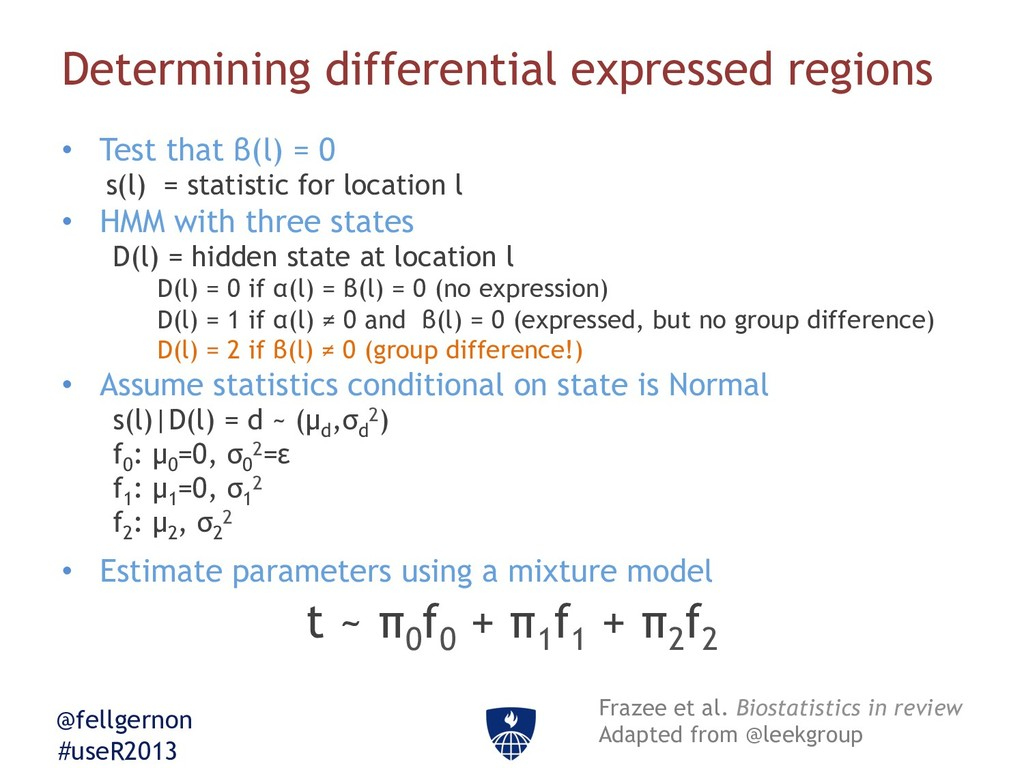 @fellgernon #useR2013 Determining differential ...