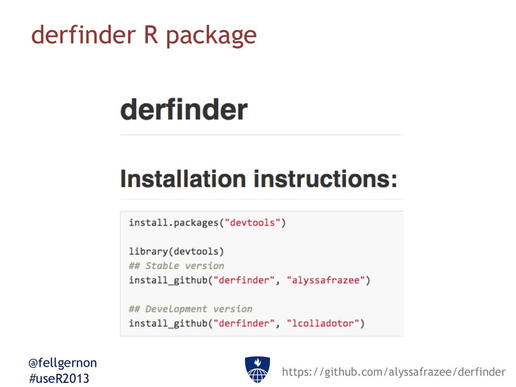 @fellgernon #useR2013 derfinder R package https...