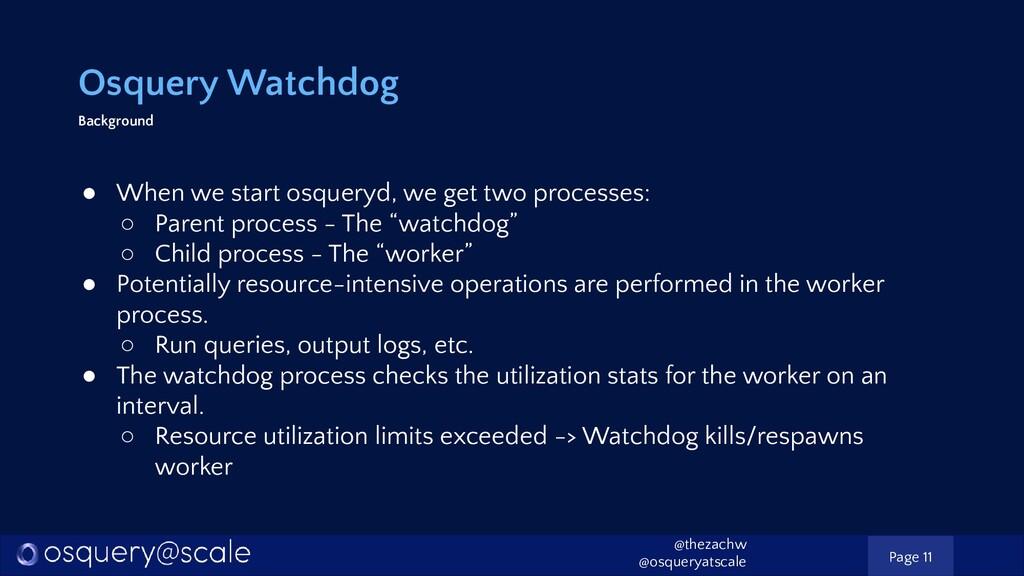 Osquery Watchdog Background ● When we start osq...