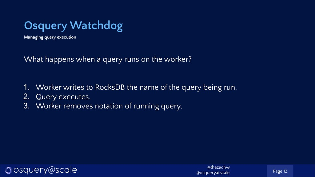 Osquery Watchdog Managing query execution What ...