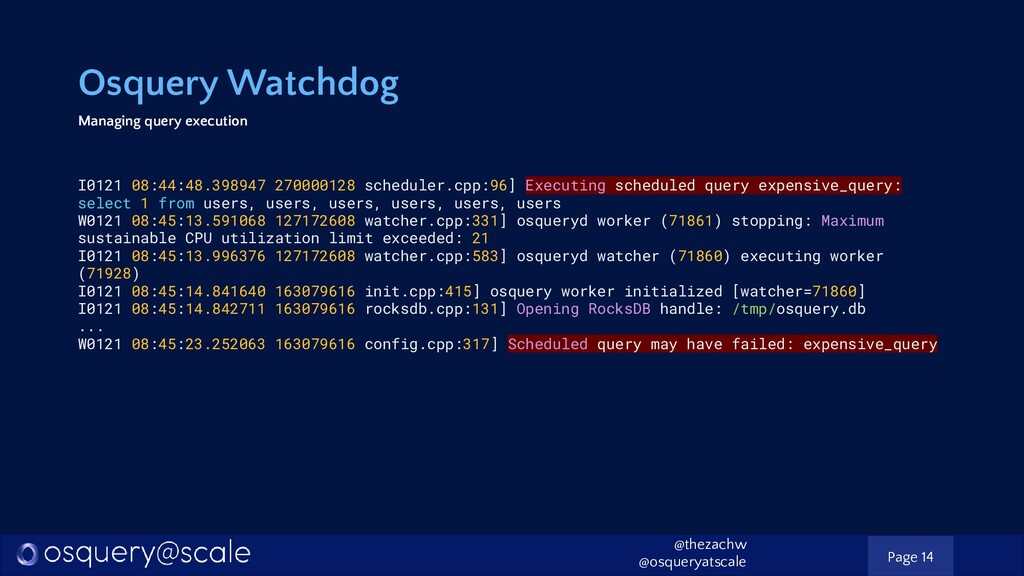 Osquery Watchdog Managing query execution I0121...