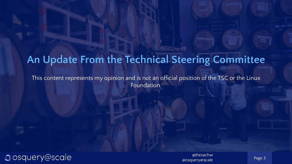 An Update From the Technical Steering Committee...