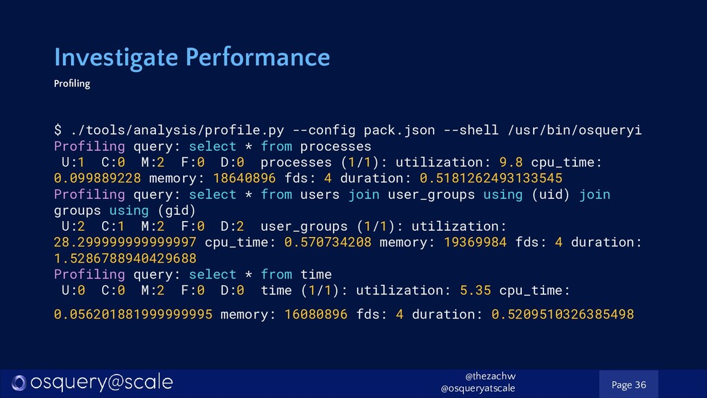 Investigate Performance Profiling $ ./tools/anal...
