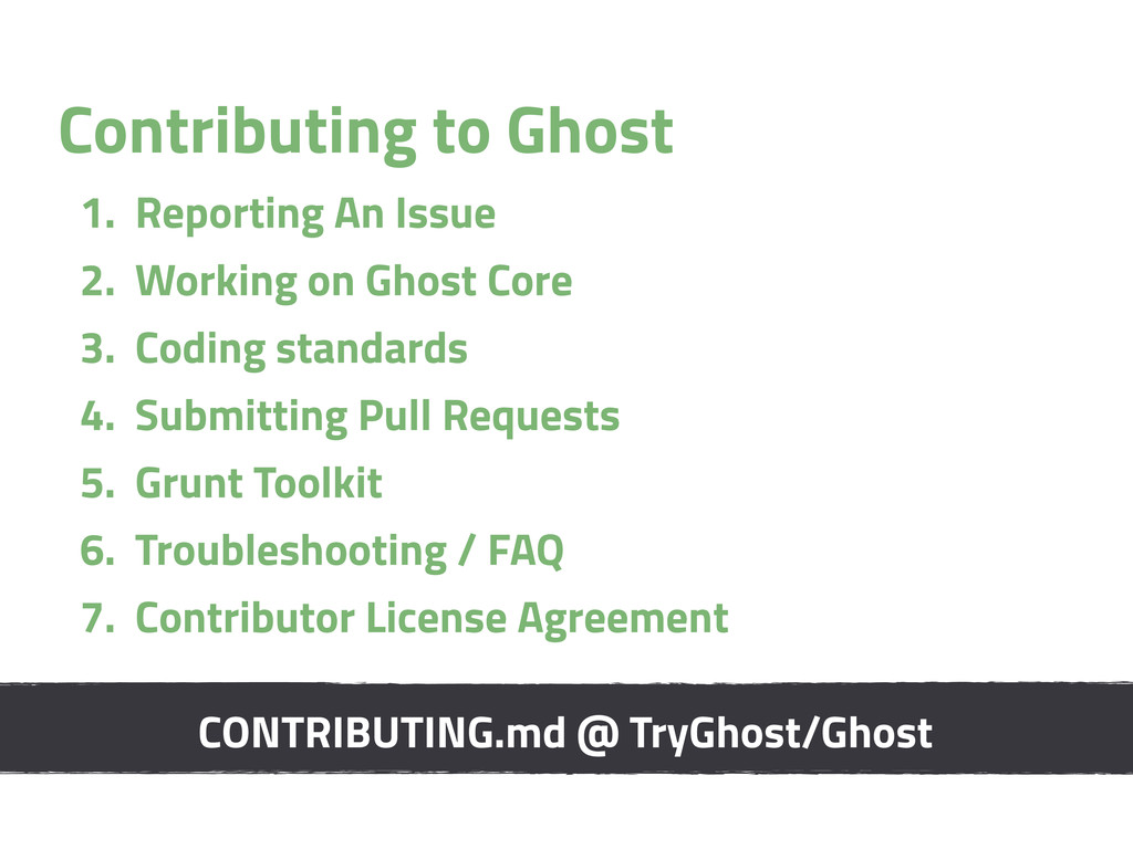 Contributing to Ghost 1. Reporting An Issue 2. ...