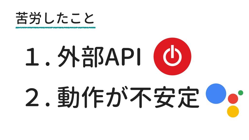 苦労したこと 2. 動作が不安定 1. 外部API