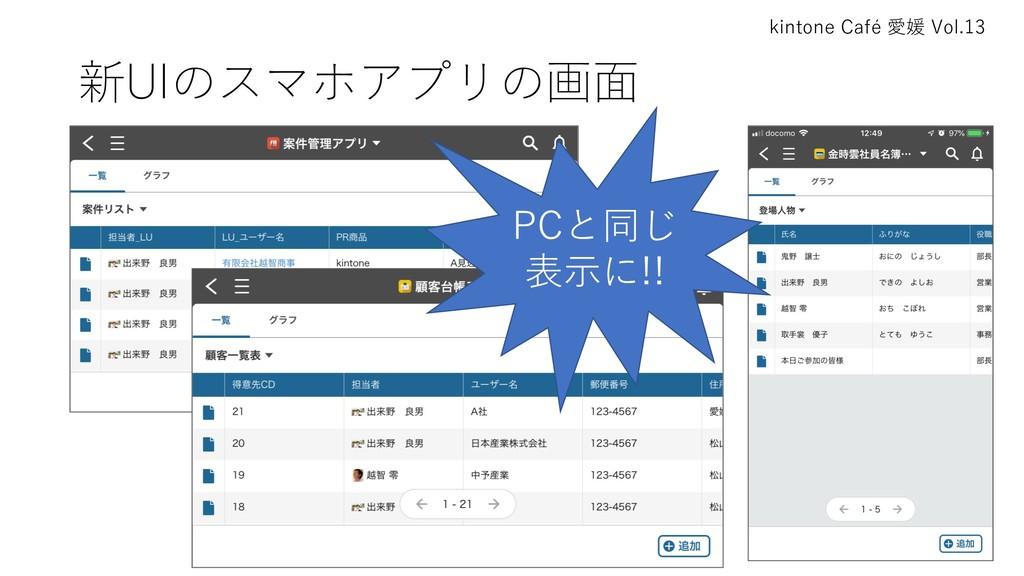 kintone Café 愛媛 Vol.13 新UIのスマホアプリの画⾯ PCと同じ 表⽰に!!