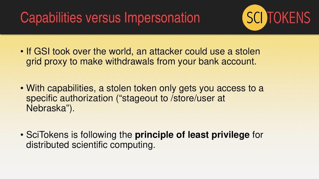 Capabilities versus Impersonation • If GSI took...