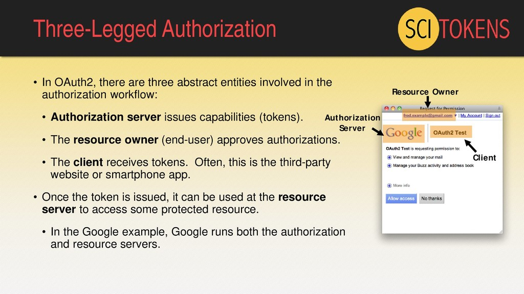 Three-Legged Authorization • In OAuth2, there a...