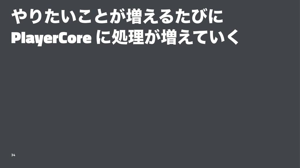 Γ͍ͨ͜ͱ͕૿͑Δͨͼʹ PlayerCore ʹॲཧ͕૿͍͑ͯ͘ 34