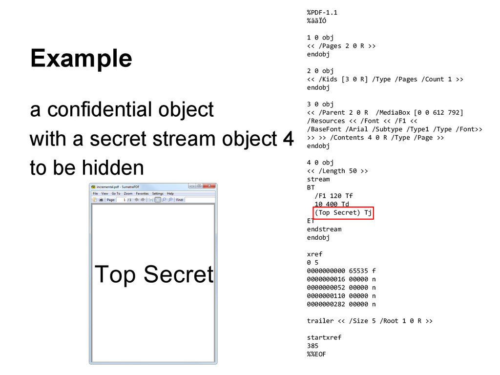 Example a confidential object with a secret str...