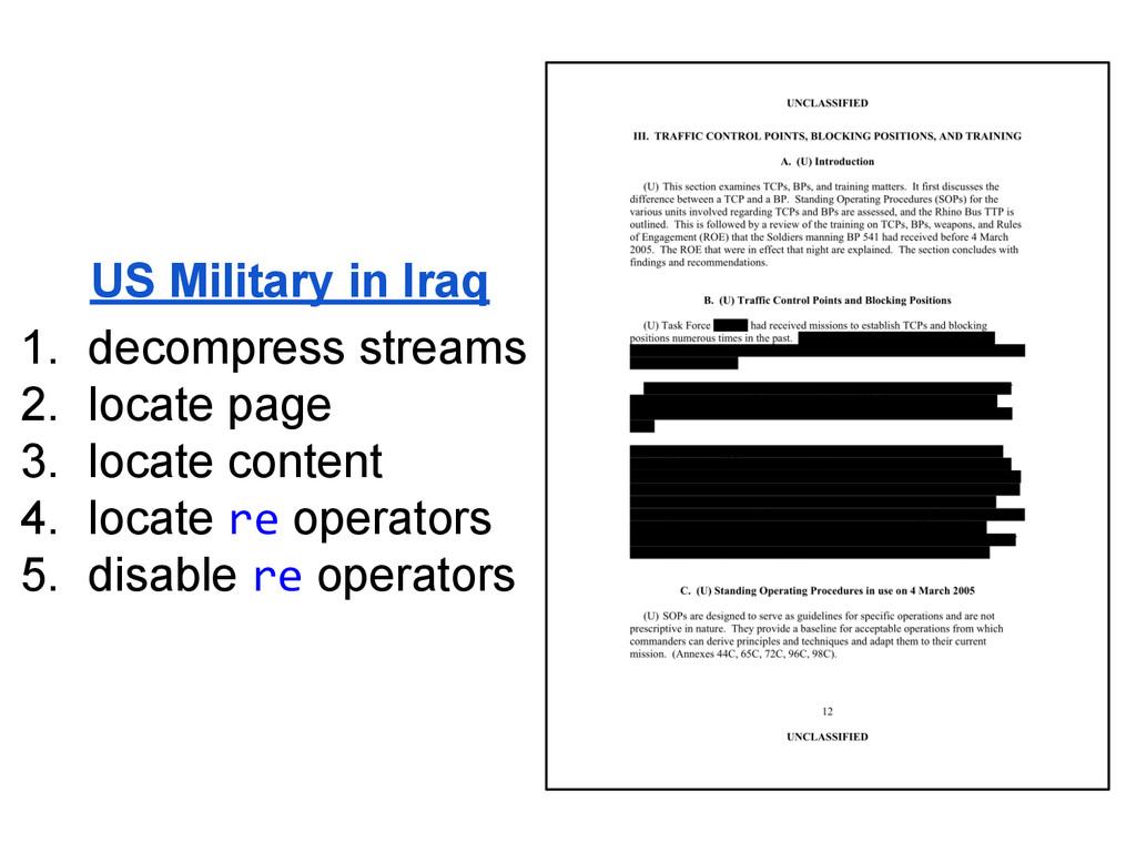 US Military in Iraq 1. decompress streams 2. lo...