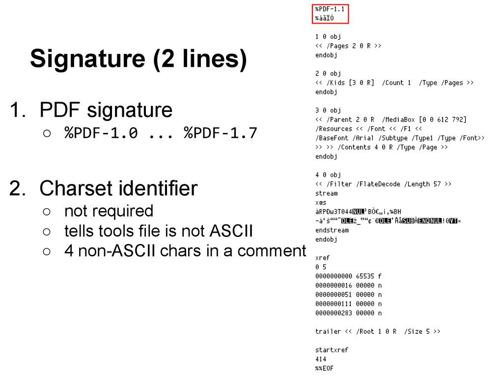 1. PDF signature ○ %PDF-1.0 ... %PDF-1.7 2. Cha...