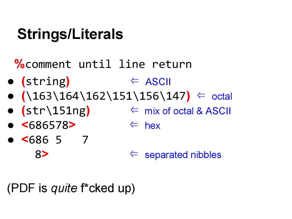 %comment until line return ● (string) ⇐ ASCII ●...