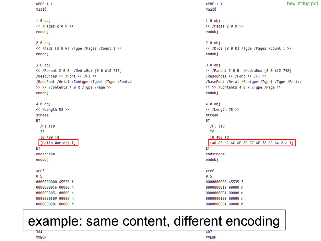 example: same content, different encoding hex_s...