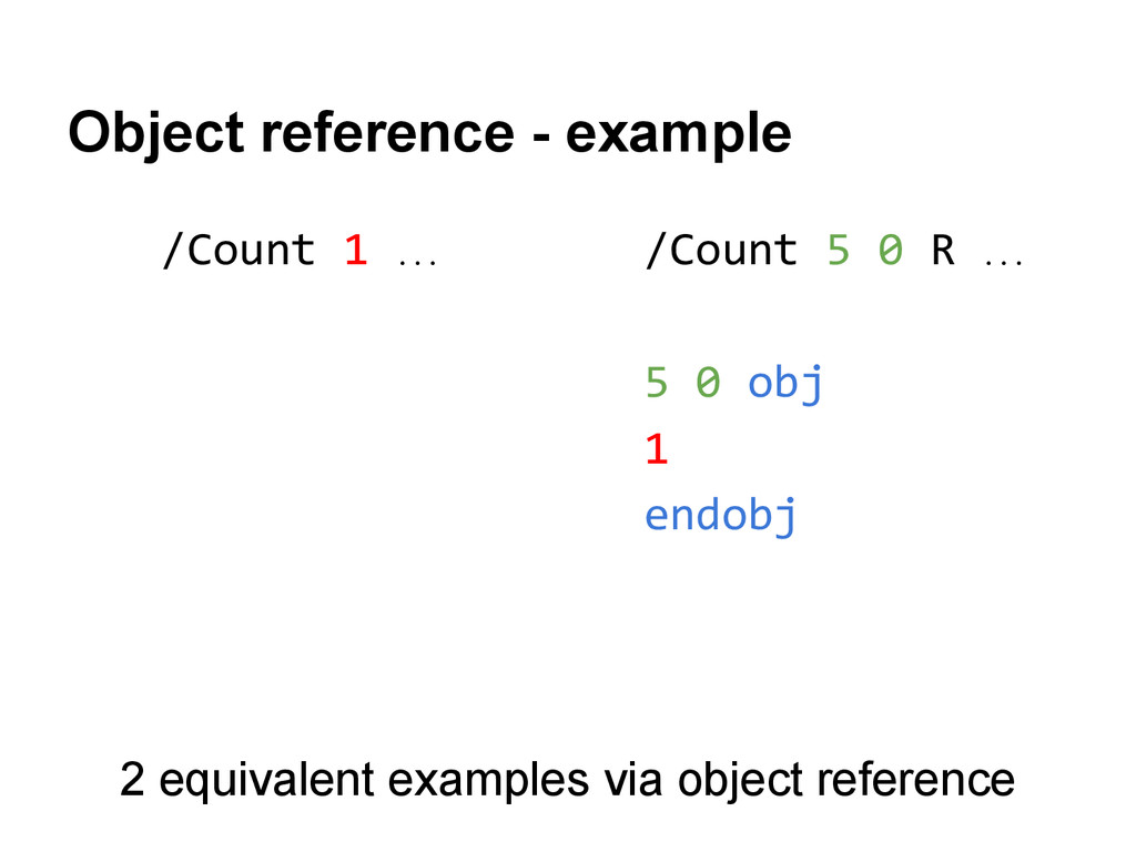 /Count 1 … Object reference - example /Count 5 ...