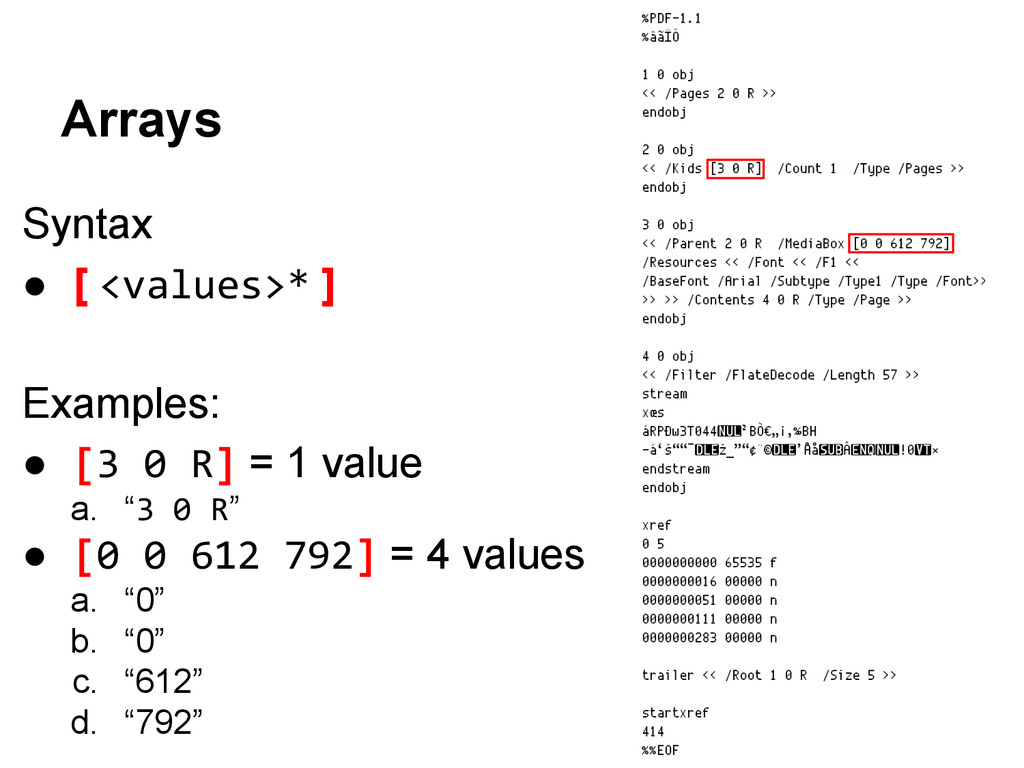 Syntax ● [ <values>* ] Examples: ● [3 0 R] = 1 ...