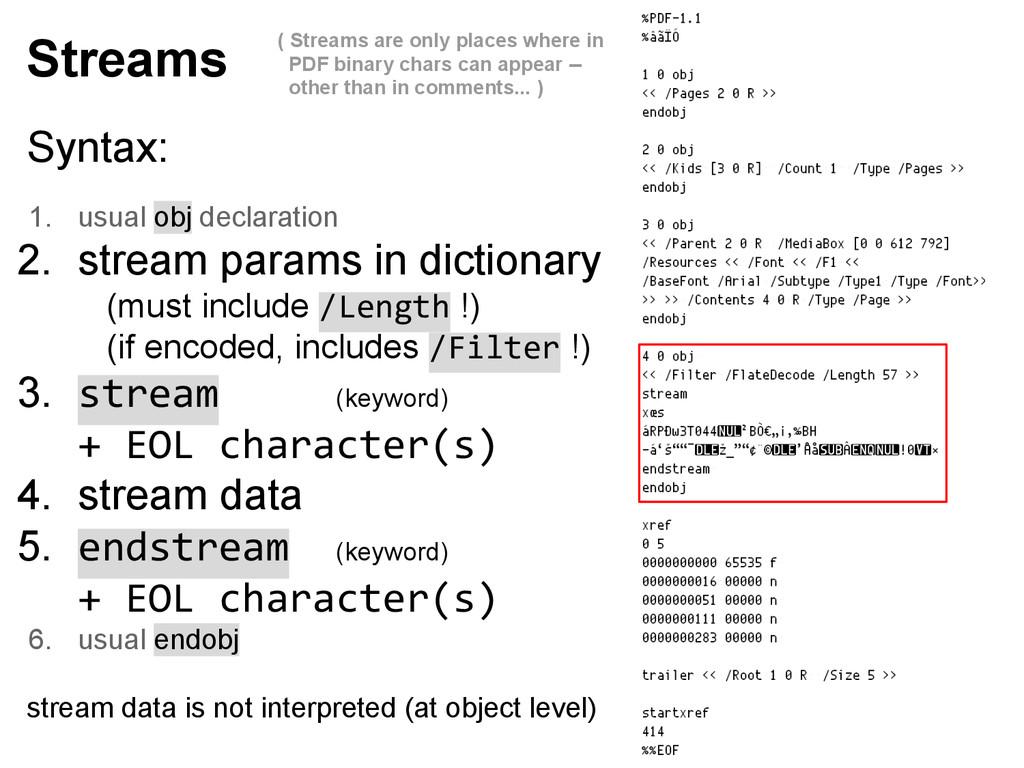 Syntax: 1. usual obj declaration 2. stream para...