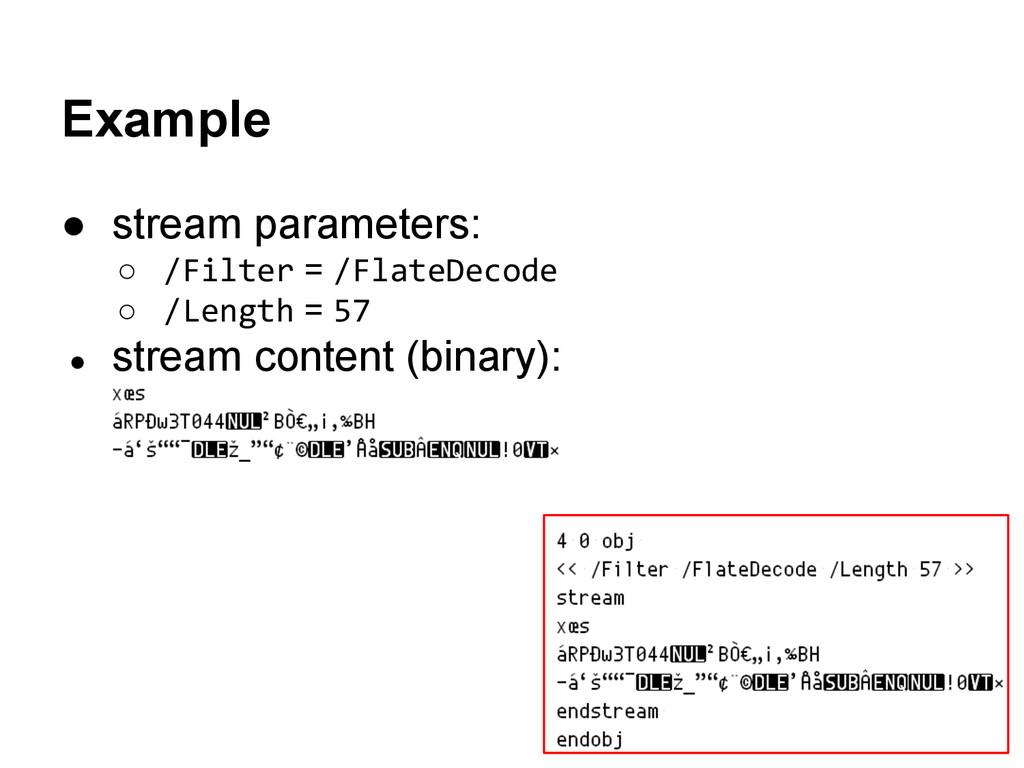 ● stream parameters: ○ /Filter = /FlateDecode ○...