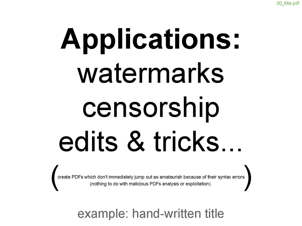 example: hand-written title create PDFs which d...