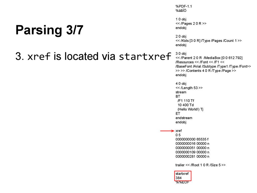 Parsing 3/7 3. xref is located via startxref %P...