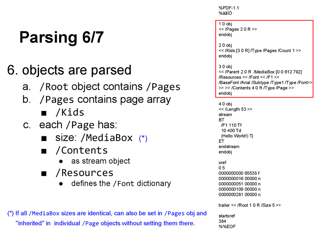 Parsing 6/7 6. objects are parsed a. /Root obje...