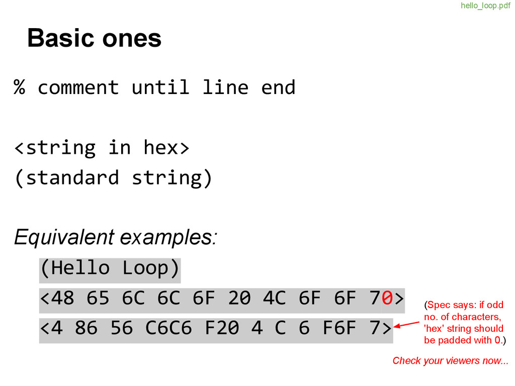 Basic ones % comment until line end <string in ...