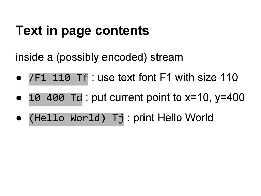 Text in page contents inside a (possibly encode...