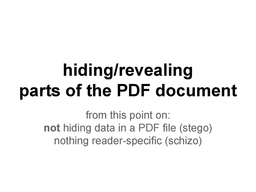 hiding/revealing parts of the PDF document from...