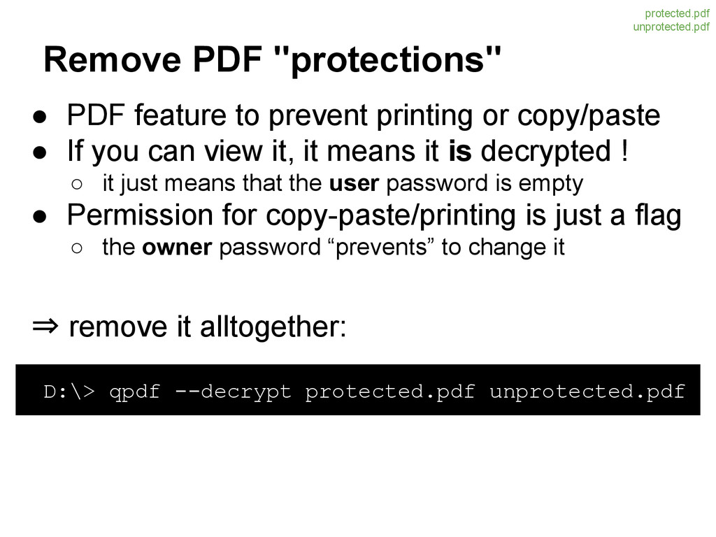 "Remove PDF ""protections"" ● PDF feature to preve..."