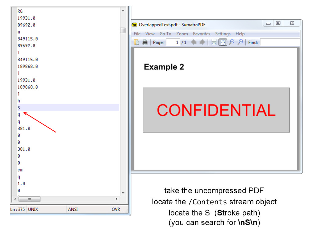 take the uncompressed PDF locate the /Contents ...