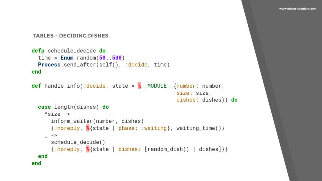 www.erlang-solutions.com TABLES - DECIDING DISH...