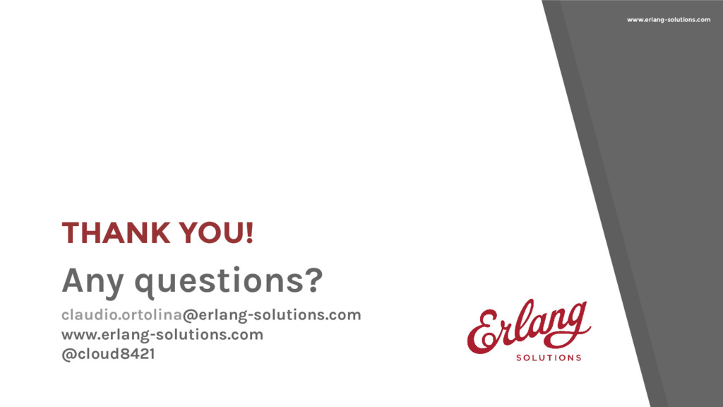 www.erlang-solutions.com THANK YOU! Any questio...