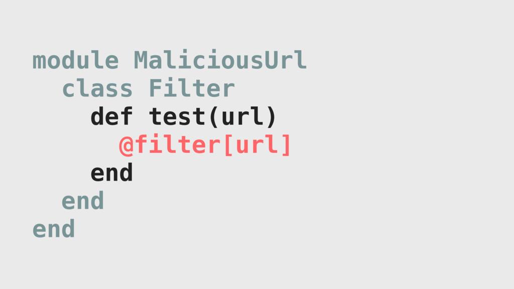 module MaliciousUrl class Filter def test(url) ...