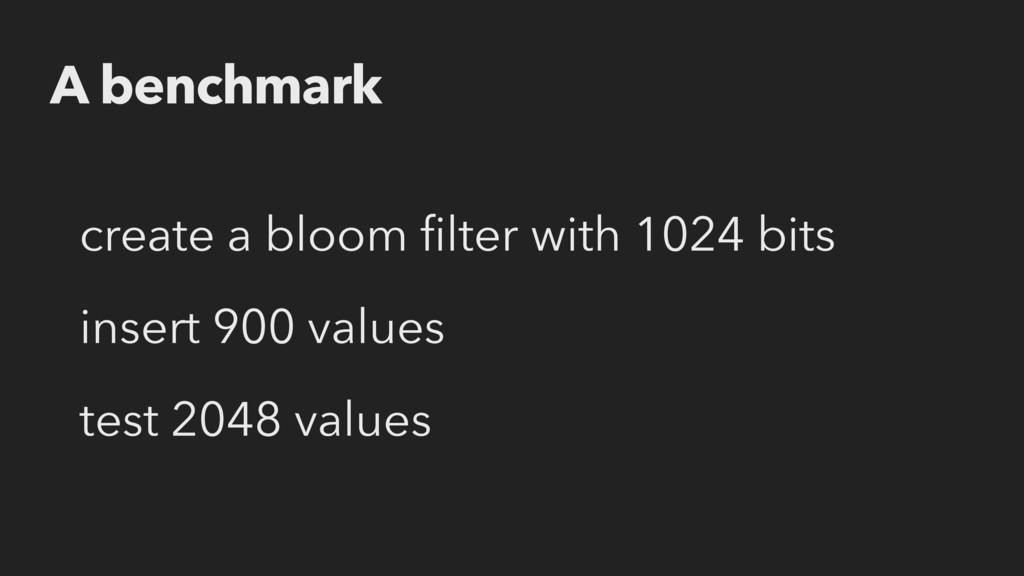 A benchmark create a bloom filter with 1024 bits...