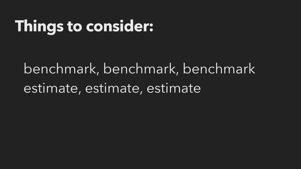 benchmark, benchmark, benchmark estimate, estim...