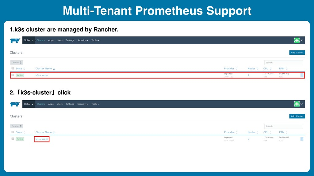 Multi-Tenant Prometheus Support 1.k3s cluster a...