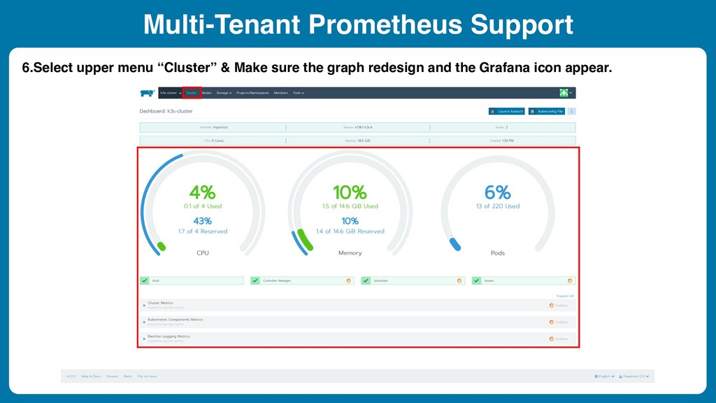 Multi-Tenant Prometheus Support 6.Select upper ...